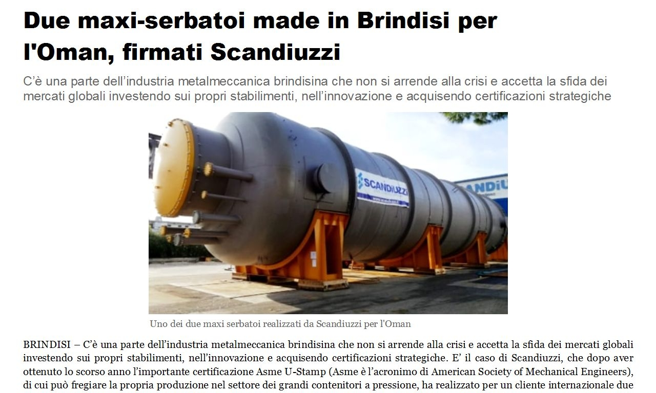 BRINDISIREPORT - Two maxi-purge bins made in Brindisi for Oman, signed by Scandiuzzi
