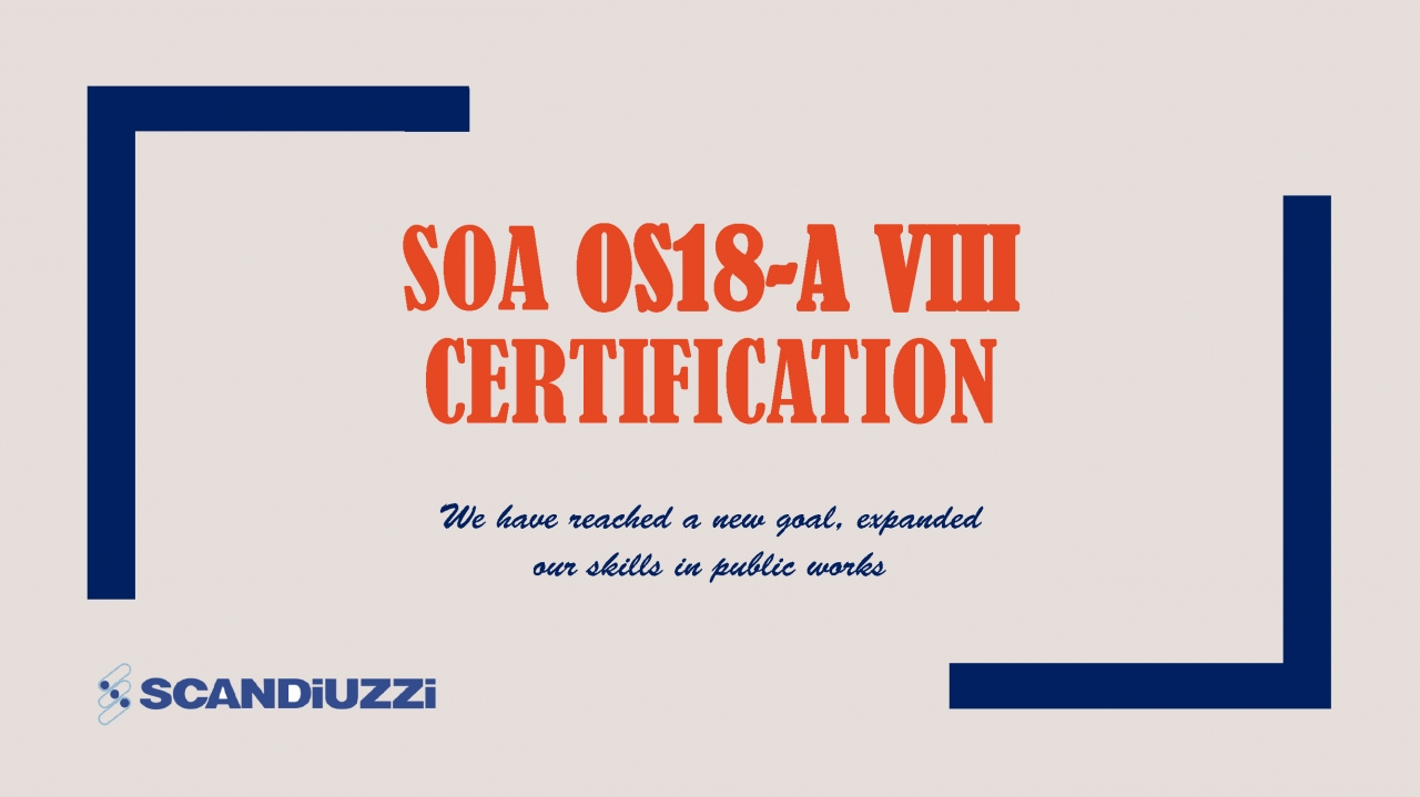 Obtained SOA OS 18-A VIII Certification (for public works)