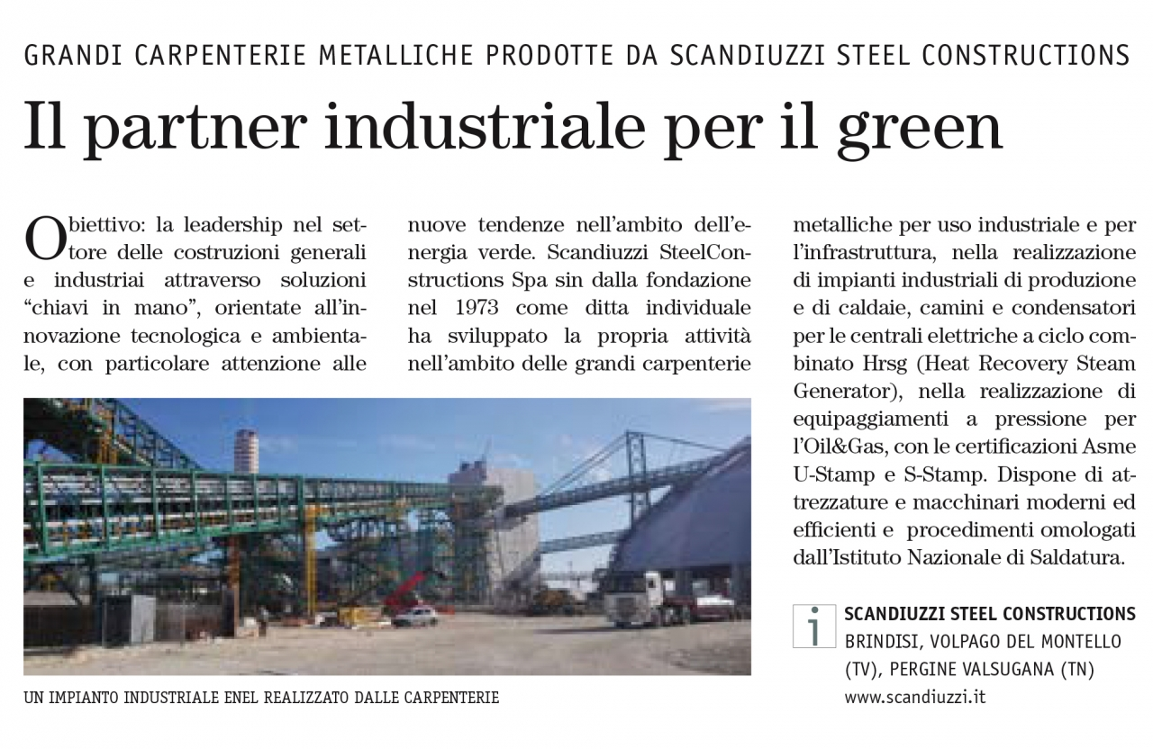 Stilè - Insert of Sole 24 Ore - The industrial partner for the green